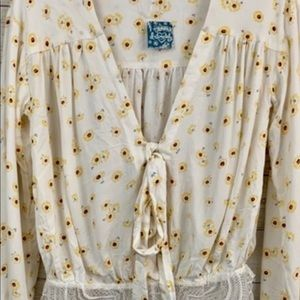 Free People Tops - Boho Body Suit by Free People White w/daisies NEW